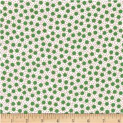 Moda Red Dot Green Dash Brushed Cottons Snow Storm Winterwhite/Green