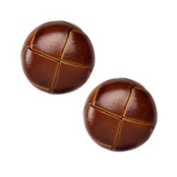 Genuine Leather Button 7/8'' Leather-All Brown