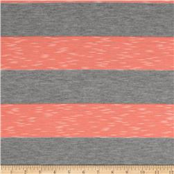 Yarn-Dyed Jersey Stripe Knit Grey/Neon Coral Grey