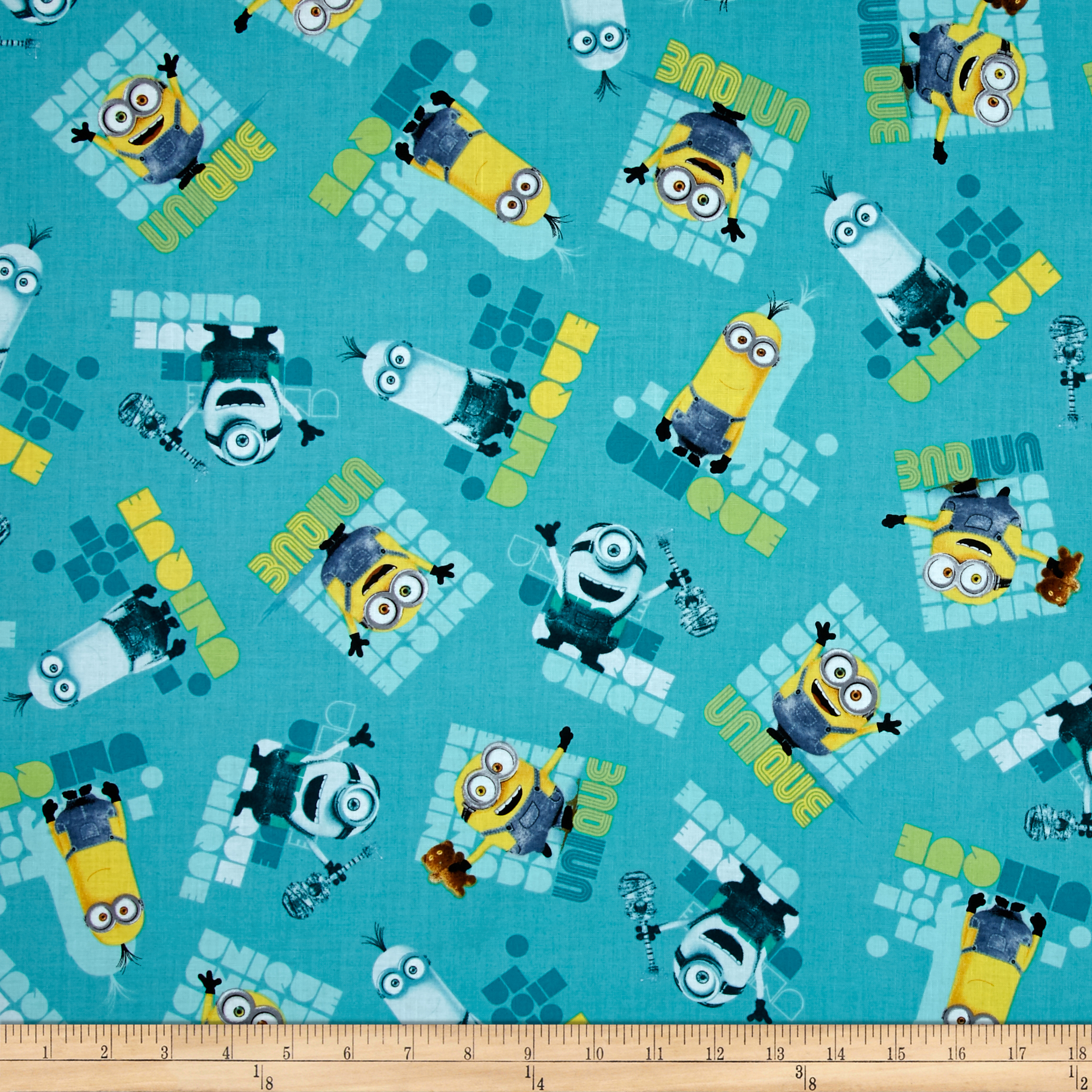 Minions Le Buddies Unique Toss Turquoise Fabric by Quilting Treasures in USA