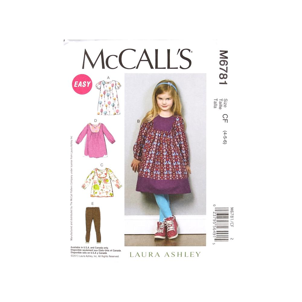 McCall's Toddlers'/Children's Dresses, Top and Leggings Pattern M6781 Size CF0