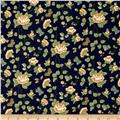 Rustic Floral Vines & Butterflies Navy/Green/Gold
