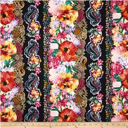 Timeless Treasures Indian Summer Large Floral Border Stripe