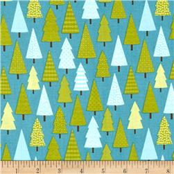 Riley Blake Happy Camper Trees Blue