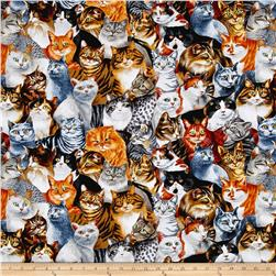 Timeless Treasures Fancy Felines Stacked Cats Cat
