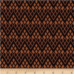 Black & Tan Chevron Trellis Black/Cognac Fabric