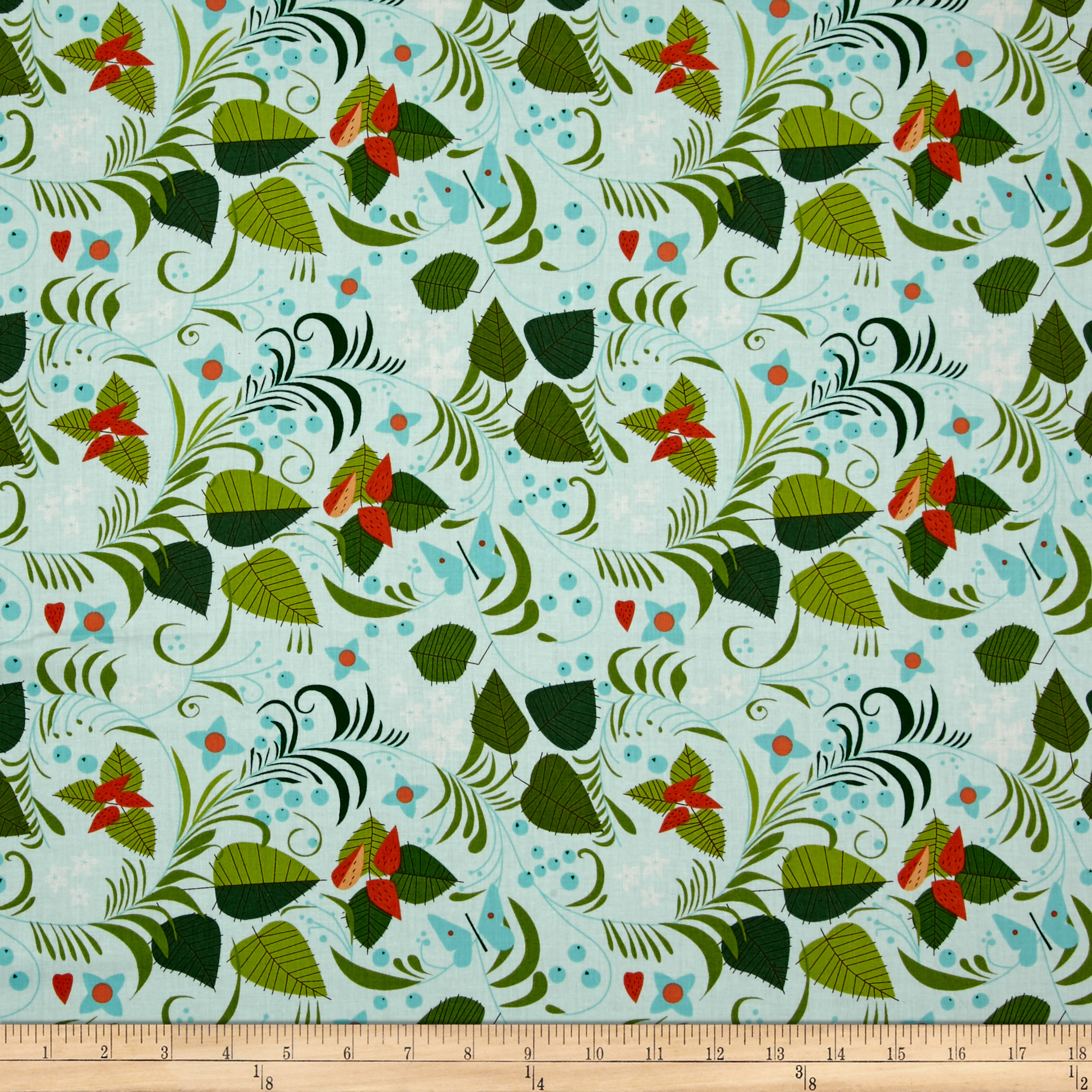 The Hit Parade Lawns Berries and Leafs Teal Fabric by Andover & Makower in USA