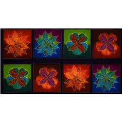 Shades of the Season 6 Metallic Autumn Leaves Blocks Panel Jewel Purple