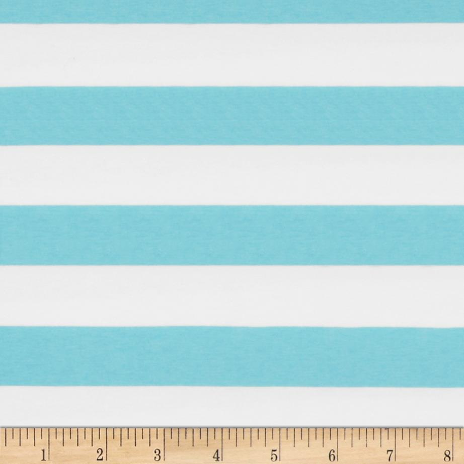 Riley Blake Cotton Jersey Knit 1'' Stripes Aqua Fabric By The Yard