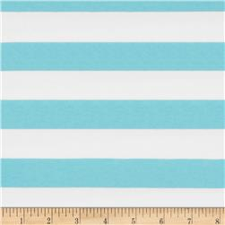 "Riley Blake Cotton Jersey Knit 1"" Stripes Aqua"