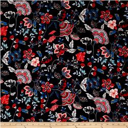 Rayon Challis Floral Garden Navy/Red/Blue