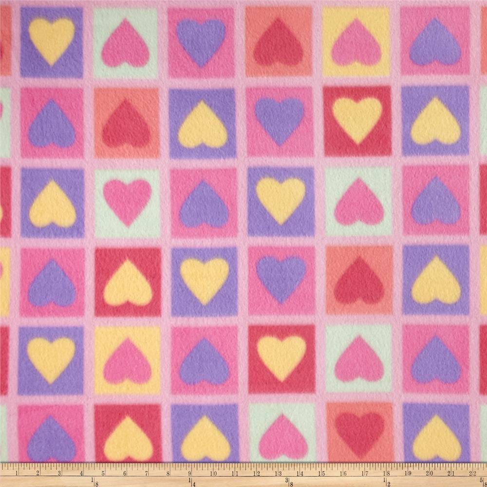 Fleece Heart Print Pink Fabric By The Yard