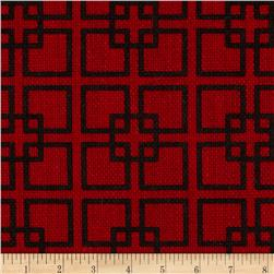 60'' Sultana Burlap Print Geometric Red Fabric
