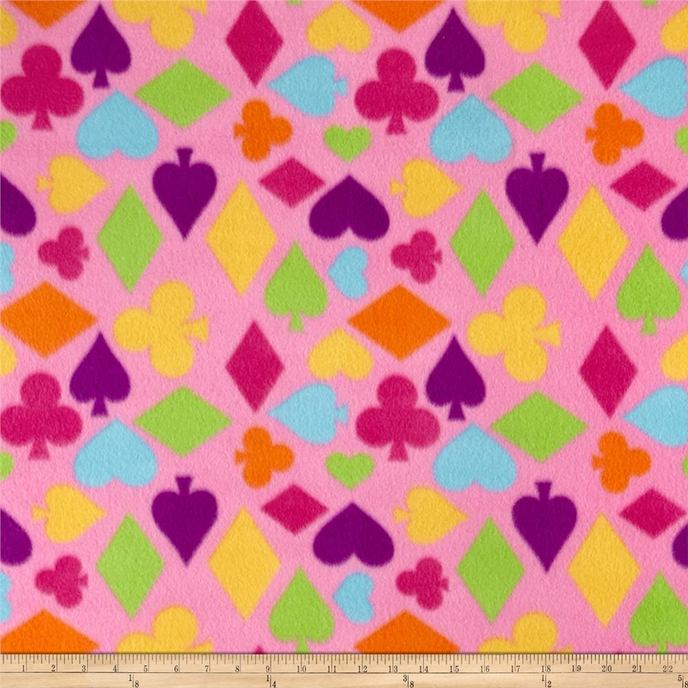 Fleece Poker Print Pink Fabric