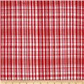 Cotton Seersucker Plaid Red/White