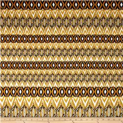 Stretch Ponte de Roma Knit Aztec Print Rust/Gray