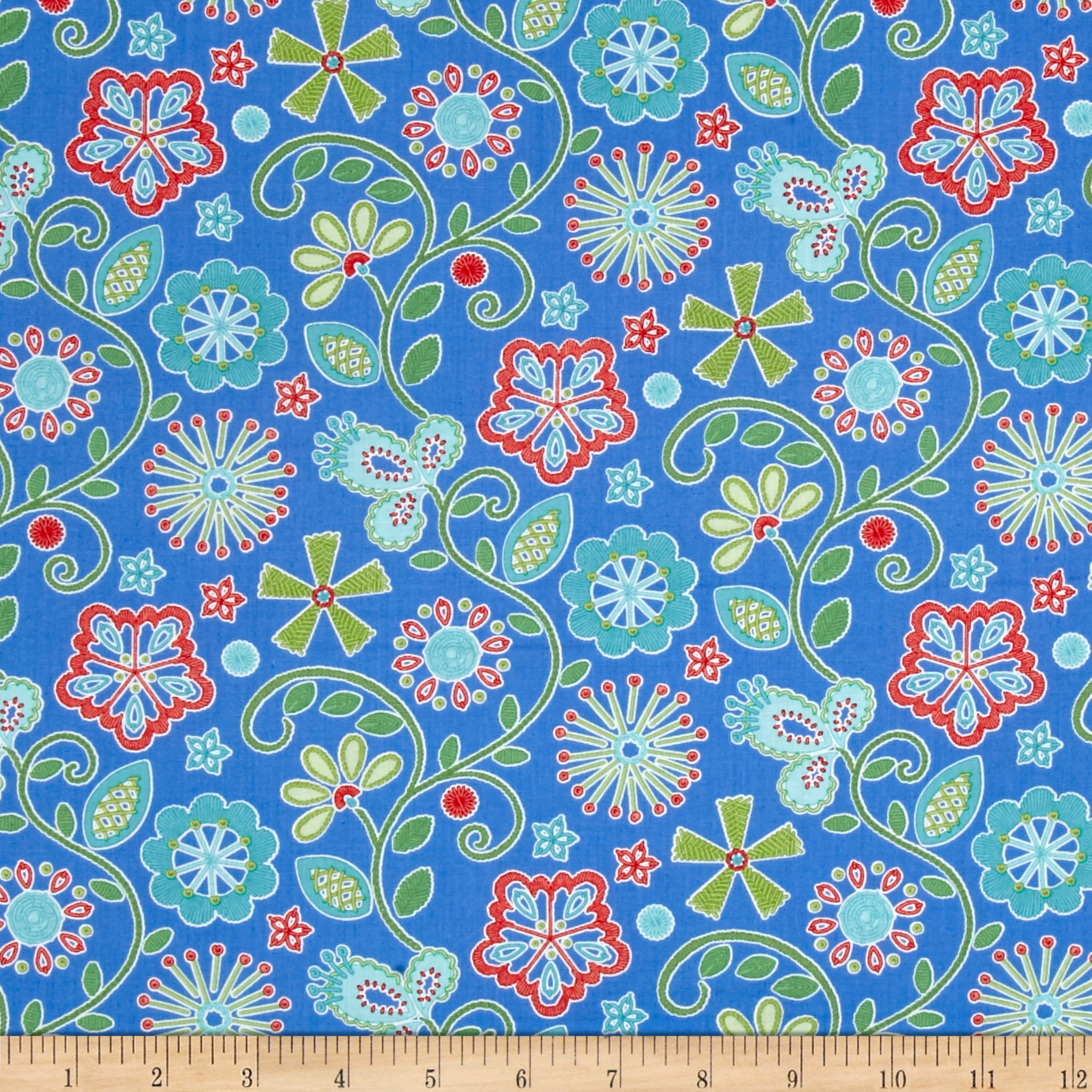 Sewing Room Embroidery Peri Blue Fabric