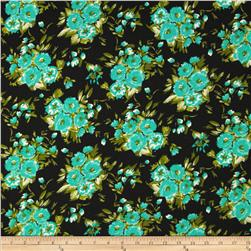 Crepe Georgette Floral Black/Teal