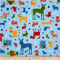 Whiskers & Tails Dogs Allover Primary Blue Fabric