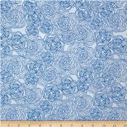 True Blue Floral Etching White
