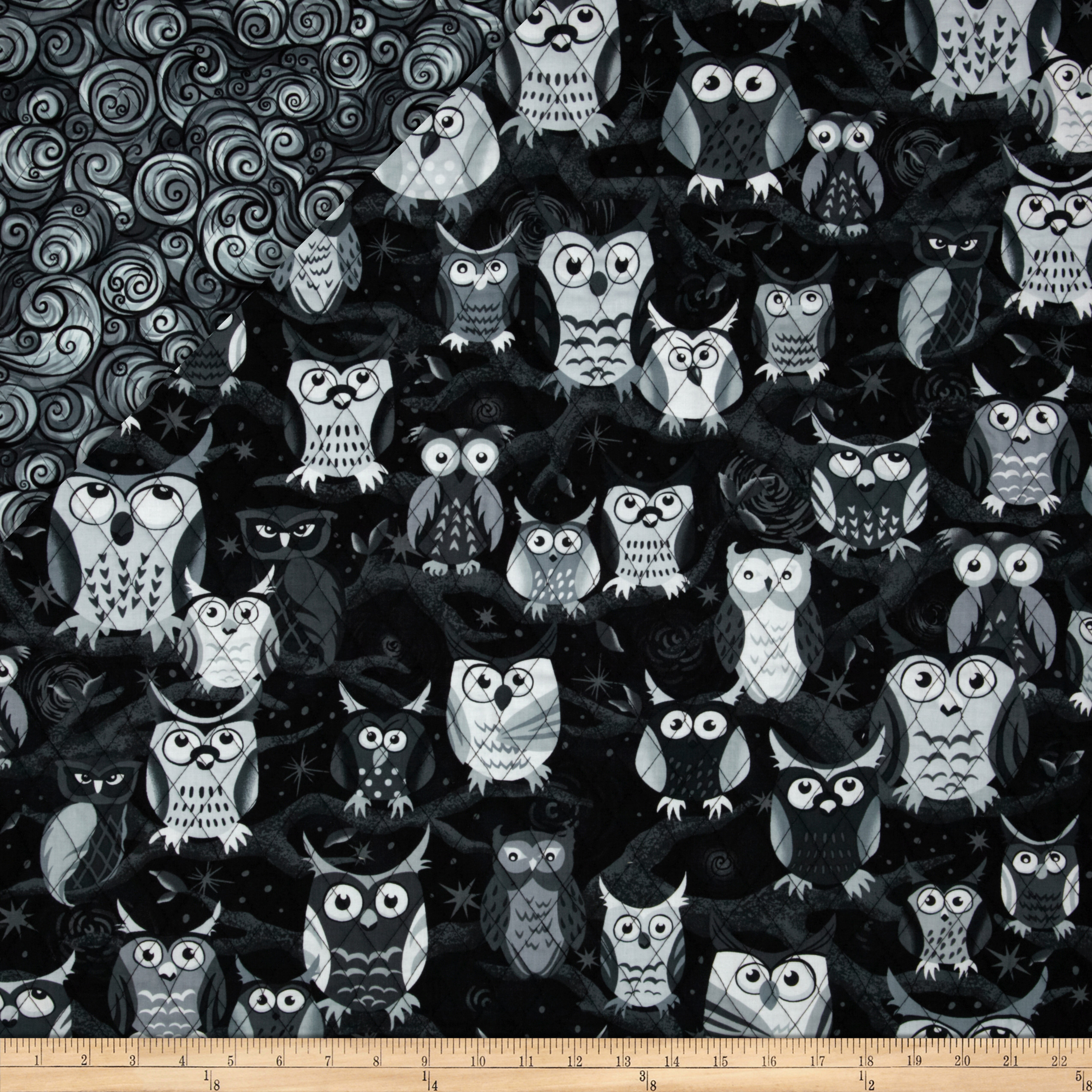 Nite Owls Double Sided Quilted Large Owls Grey