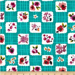Picnic Social Watercolor Floral Grid June Teal