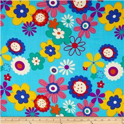 Rayon Challis Floral Baby Blue