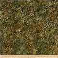 Batavian Batiks Medium Floral Vine Brown Green