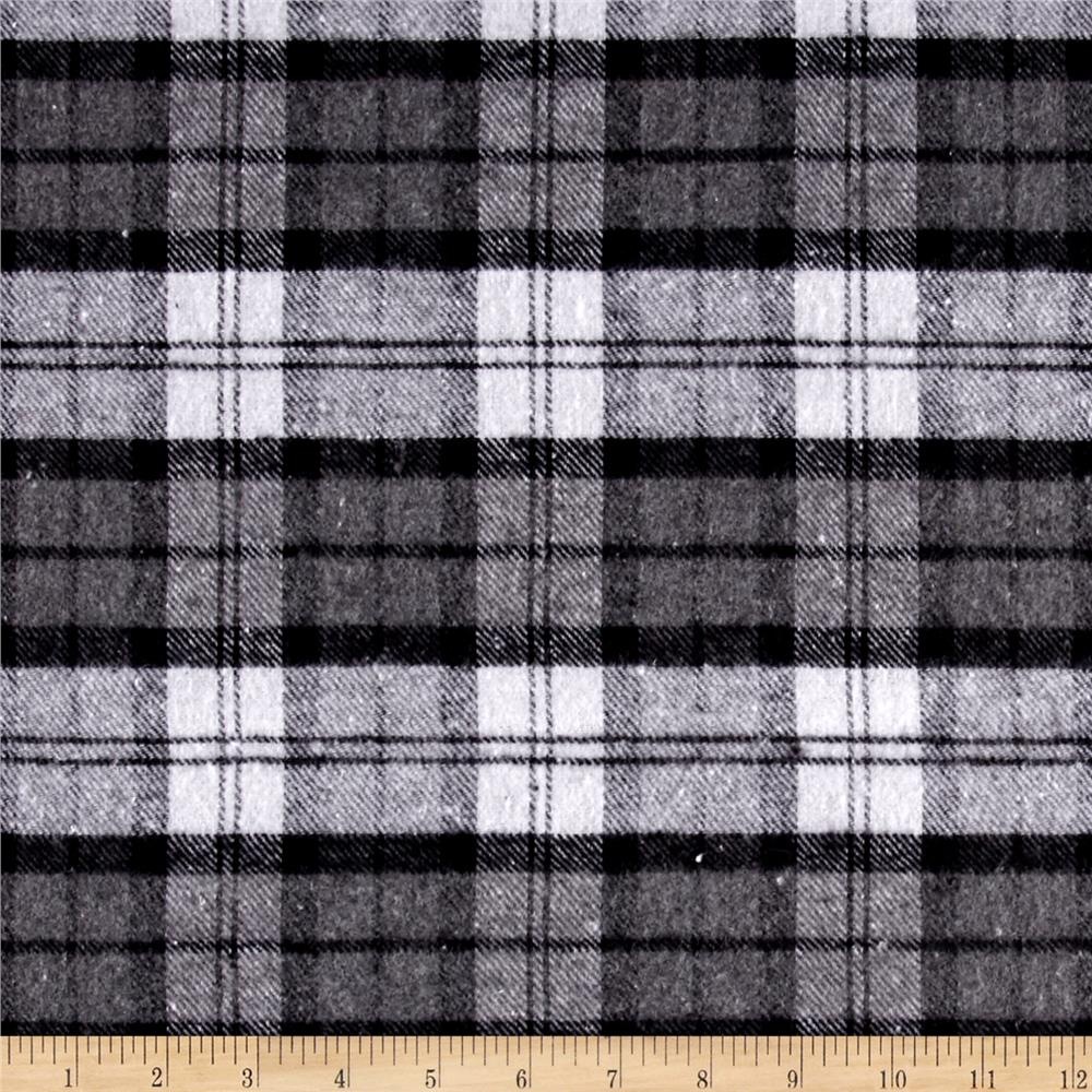 Yarn Dyed Flannel Plaid Black/Gray/White