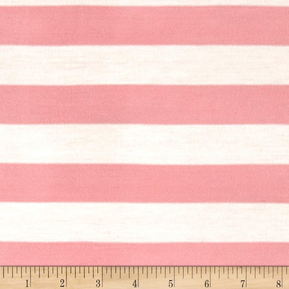 Stretch Jersey Knit Stripe Pink/White