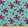 Mary Fons Small Wonders Brazil Digital Print Floral Pattern Aqua