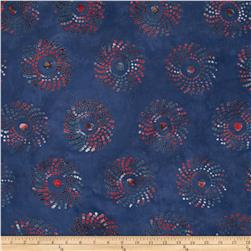 Indian Batik Medallion Navy/Red