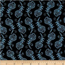 Contempo Feathers Black/Turquoise Fabric