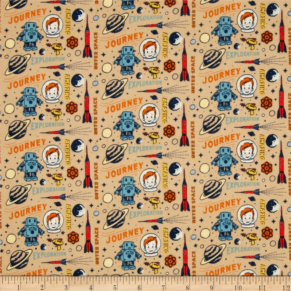 Riley Blake Rocket Age Flannel Rocket Captain Brown