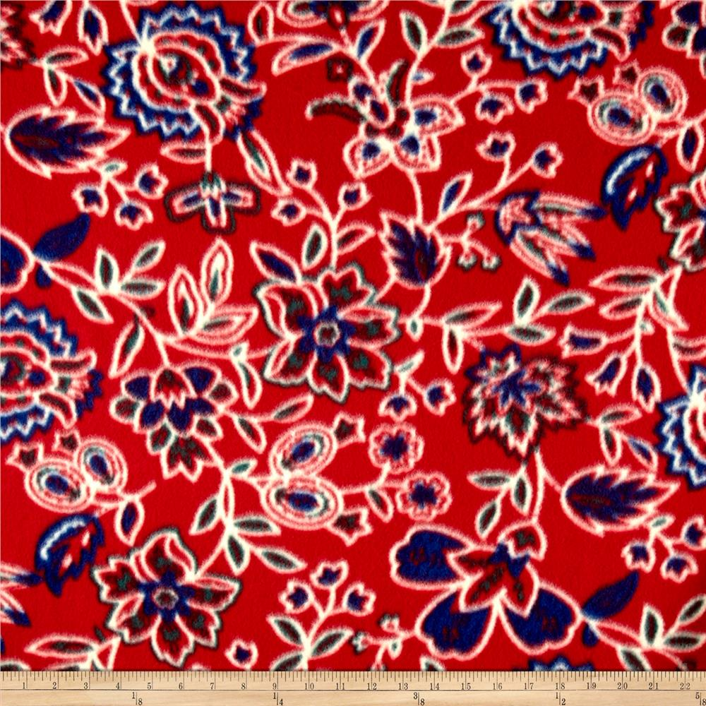 Fleece Print Americana Florals Red