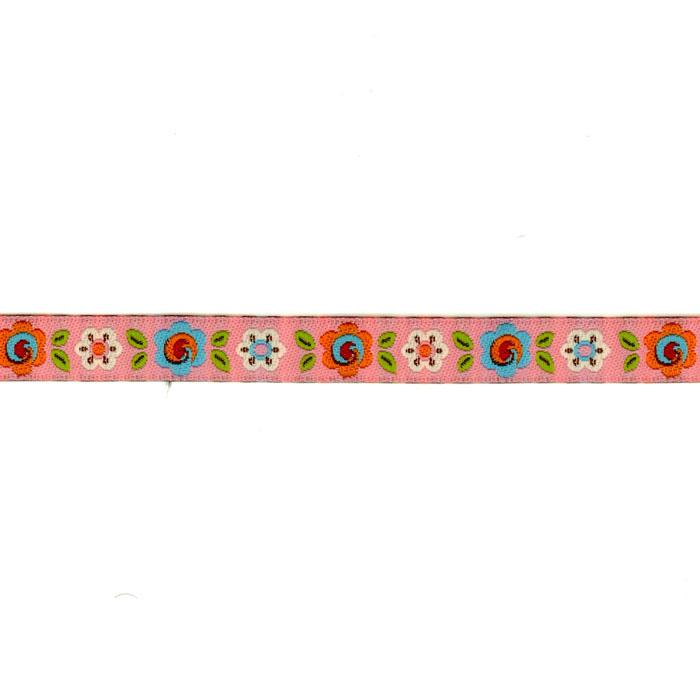 3/8'' Dena Designs Happi Flowers Ribbon Pink