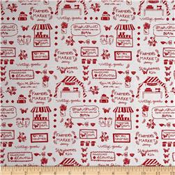 Riley Blake Vintage Market Text Red