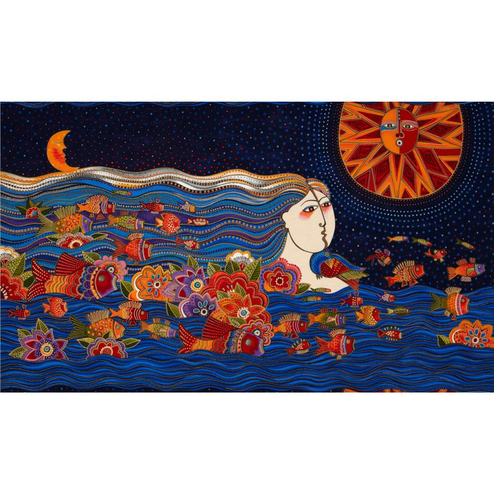 Laurel Burch Sea Spirits Metallic Panel Multi