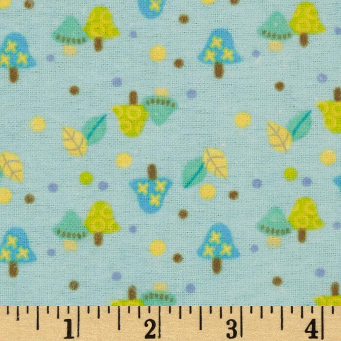 Friendly Fox Flannel Mushrooms Blue