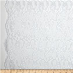 Madonna Floral Lace Netting White Fabric