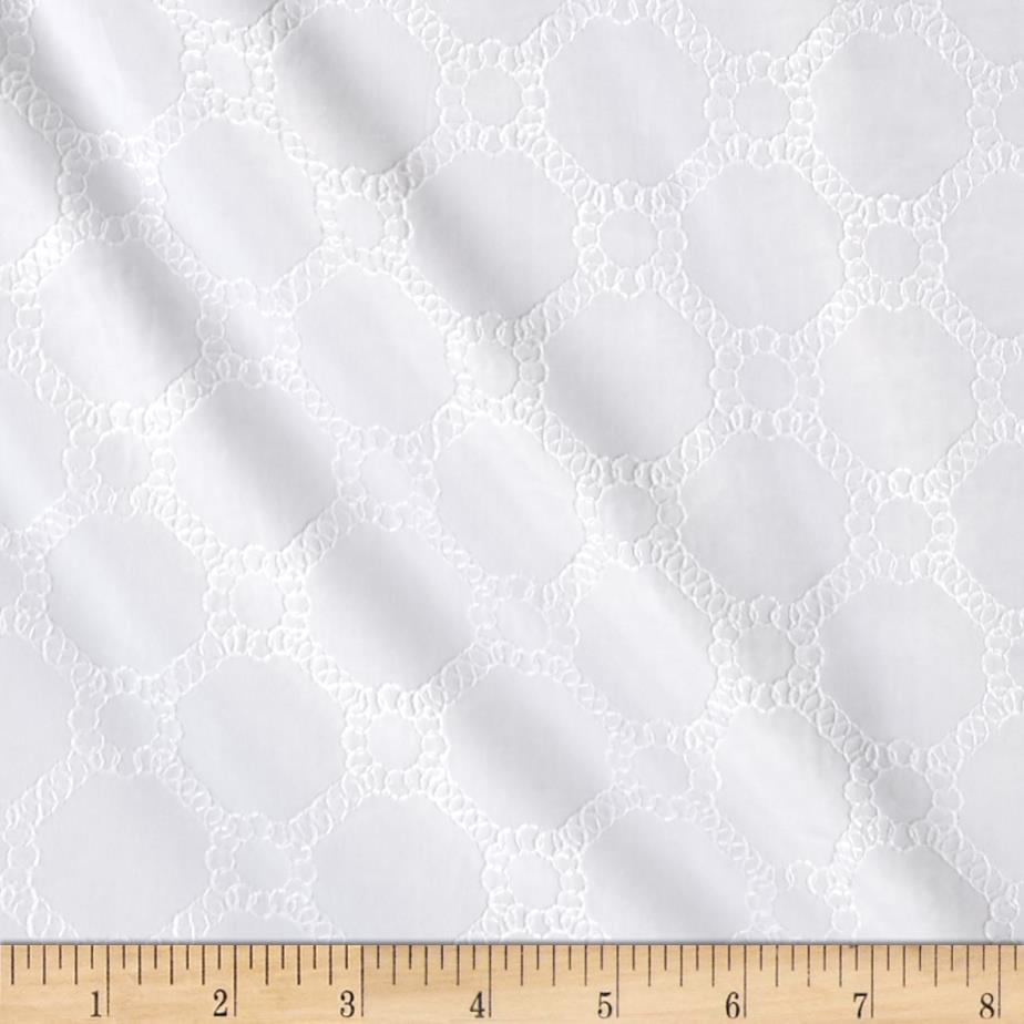 Kaufman Rebecca Embroidered Poplin Chained Circles White
