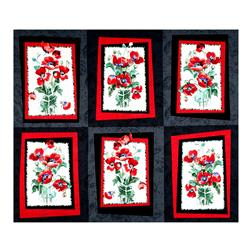 "Timeless Treasures Fresh Cut 36"" Poppy Panel Black"
