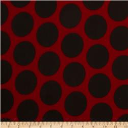 Stretch ITY Jersey Knit Large Dot Black/Red