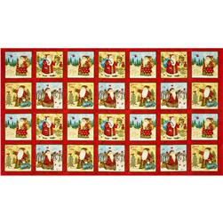 Santa's Journey Panel Santa Blocks Metallic Red