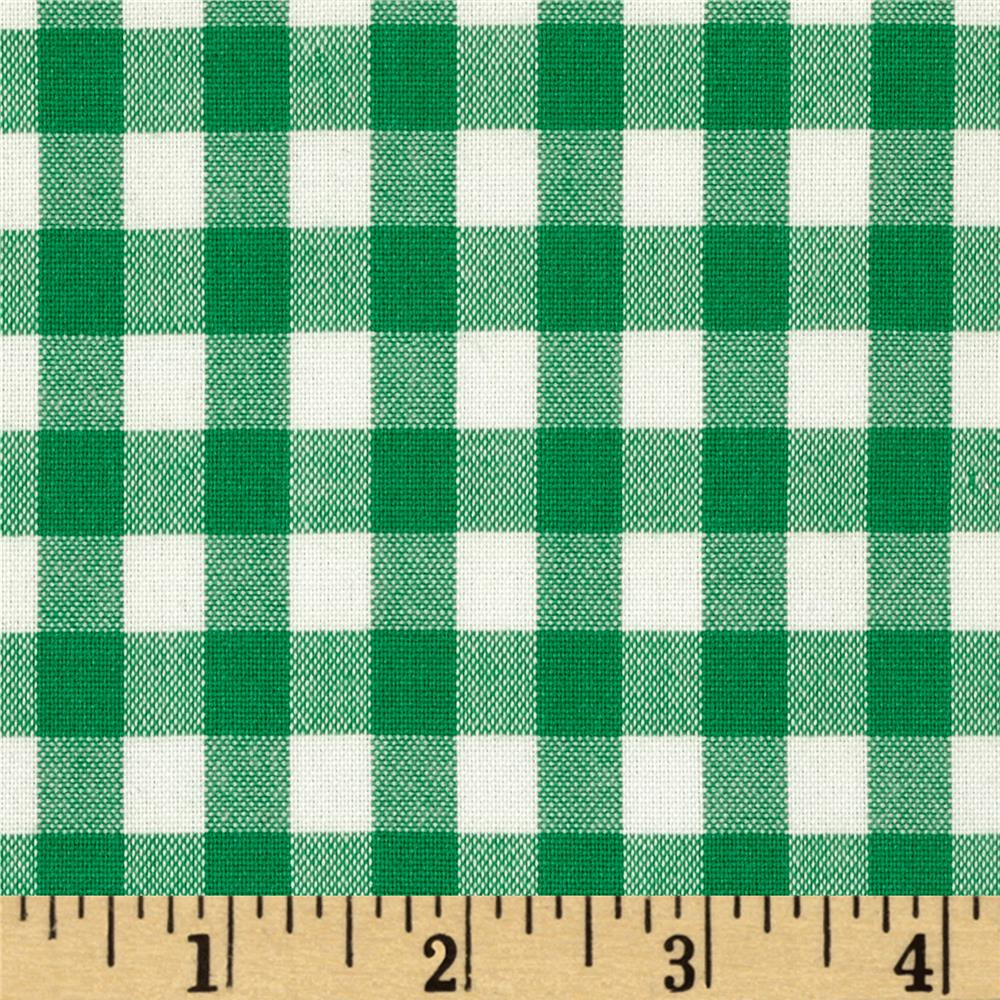 Stretch Poly Cotton Gingham Poplin Green/White