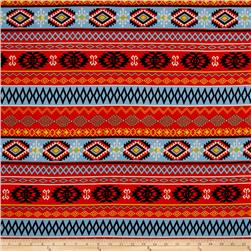 Jersey Knit Aztec Diamond Orange
