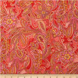 Kaufman London Calling Lawn Paisley Medallion Peach Fabric