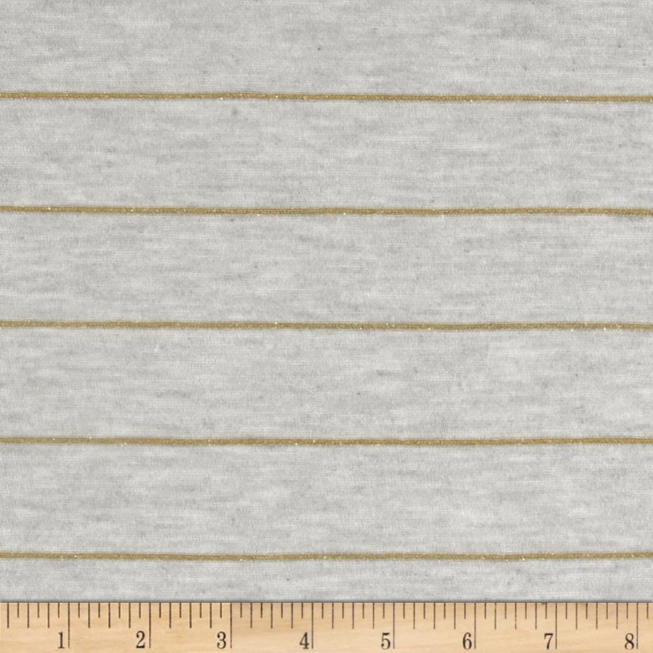 Designer Stretch Heather Jersey Knit Stripes Metallic Gold/Grey