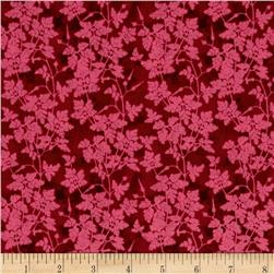 Bright and Early Leafy Vine Red Fabric