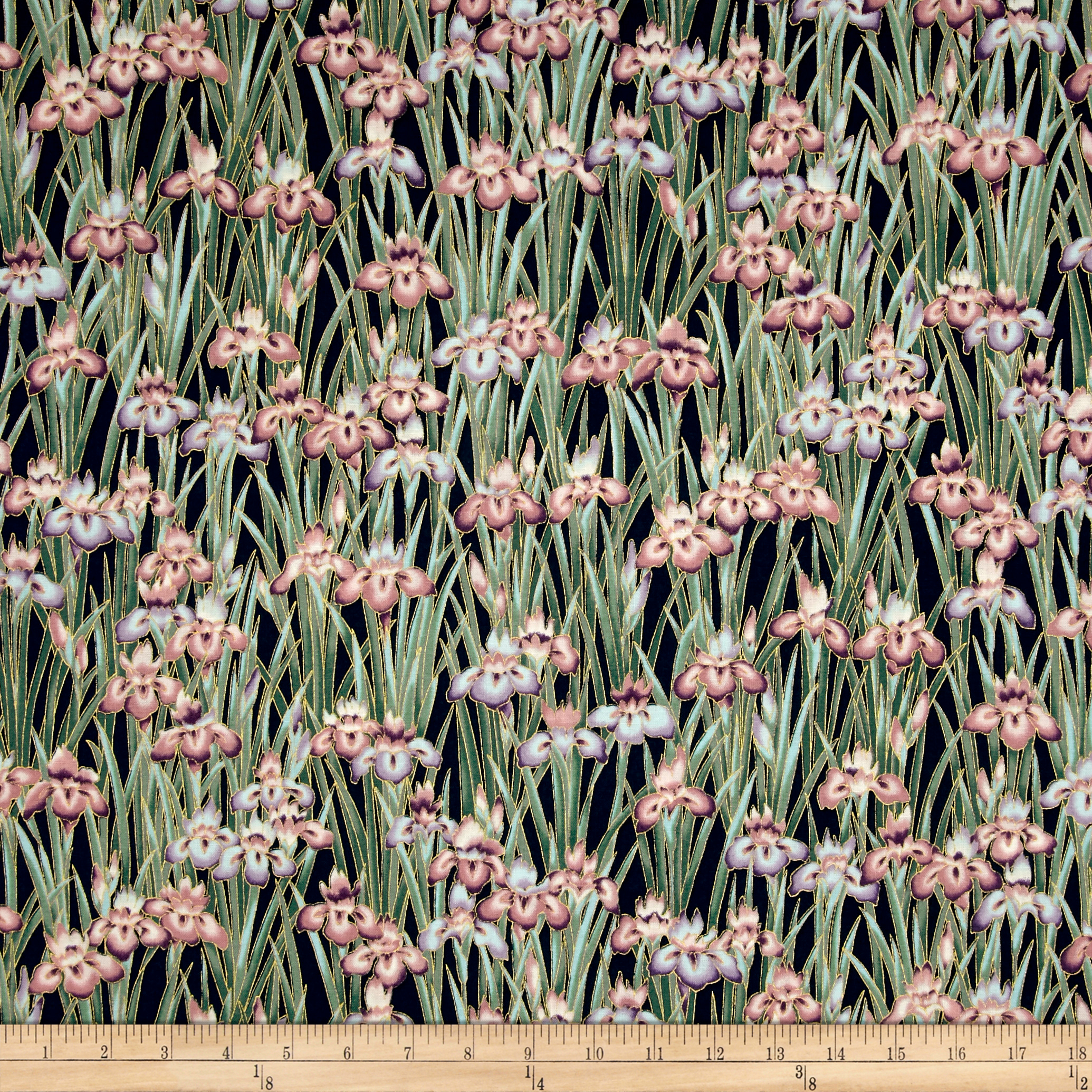 INOpets.com Anything for Pets Parents & Their Pets Kaufman Imperial Collection Garden Flowers Metallic Garden Fabric